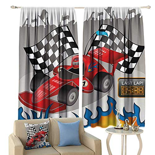 Kids Decor Insulated Sunshade Curtain Race Car with Finish Line Flags Pilot and Flames with Abstract Gray Background Noise Reducing (Gray Shade Pilot)