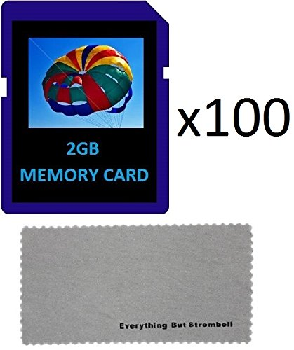 Everything But Stromboli 2 GB 2G 100-Pack SD Style Flash Memory Card Wholesale Lot for Digital Cameras with Bonus Everything But Stromboli (tm) MicroFiber Contact Cleaning Cloth from Everything But Stromboli