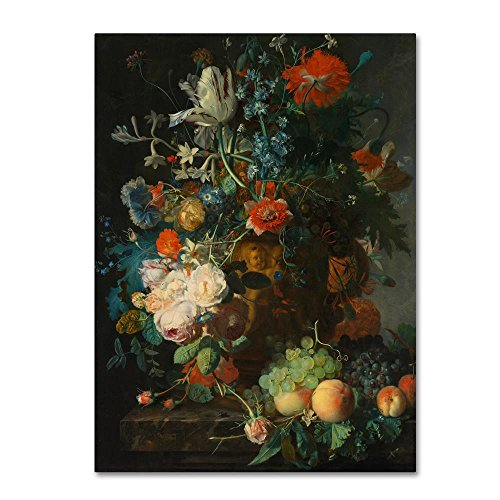 Jan Van Huysum Flowers (Still Life With Flowers And Fruit by Jan Van Huysum, 35x47-Inch Canvas Wall Art)