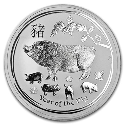 2019 AU Australia 10 oz Silver Lunar Pig BU Silver Brilliant ()