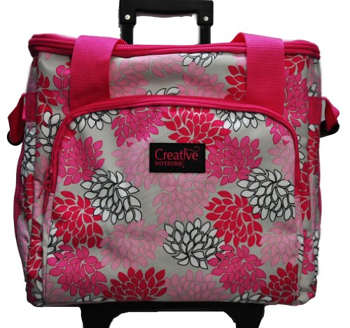 XL Serger Trolley Pink Gray Floral by Creative Notions