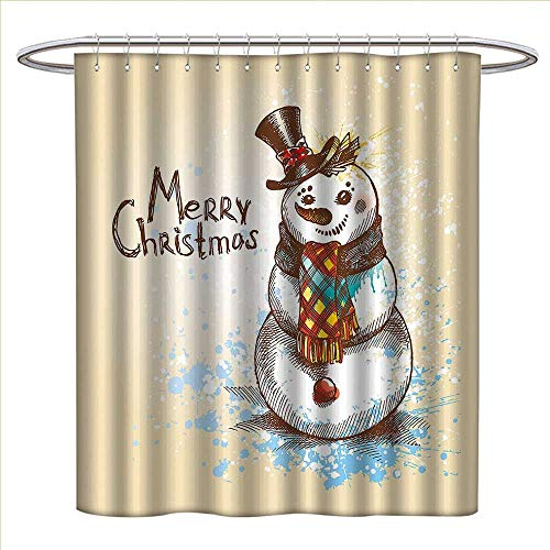 - Jinguizi Snowman Shower Curtain Collection by Artistic Snowman with Winter Accessories Color Splashes Happy Xmas Sketchy Patterned Shower Curtain W36 x L72 Cream Brown Blue