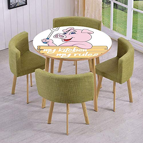 iPrint Round Table/Wall/Floor Decal Strikers/Removable/Pig Chef Holding BBQ Barbeque Fork Tongs Fast Food Mascot Character Grill Wood Menu/for Living Room/Kitchens/Office Decoration