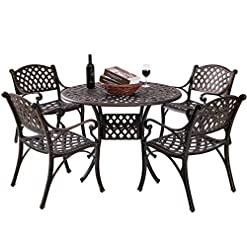 Garden and Outdoor Kinger Home 5-Piece Cast Aluminum Patio Dining Set w/ 4 Chairs, Umbrella Hole, Lattice Weave Design – Antique Brown patio dining sets