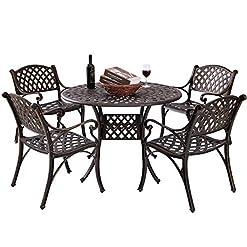 Garden and Outdoor Kinger Home 5-Piece Patio Dining Set, Patio Dining Set for 4, Outdoor Table and Chairs, Metal Dining Chairs Set of 4… patio dining sets