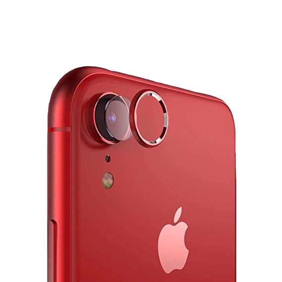 cheap for discount e9723 645f2 Sakula Camera Lens Protector Plating Aluminum Camera Case Cover Ring with  Tempered Glass Film Designed for iPhone XR Red