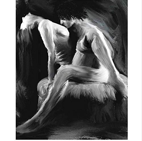 GIZIGI DIY ダイヤモンドペインティング クロスステッチパターン 5D ダイヤモンド刺繍 恋人 エンブレース フルモザイク刺繍 ホームデコレーション 40X50cm フレームレス B07PCRJJKK