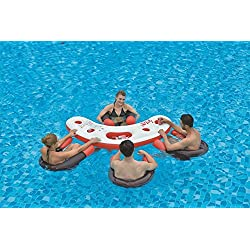 "Pool Central 67"" Inflatable Red, White, and Black Floating Swimming Pool Bar Set"