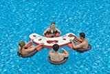 "67"" Inflatable Red, White, and Black Floating Swimming Pool Bar Set"