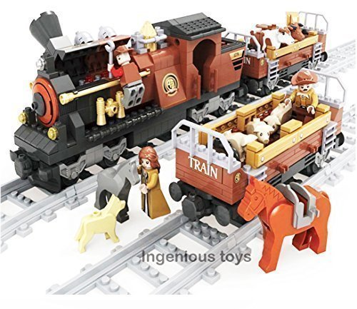Train Set & 2 Wagons with Cattle Horseman Driver & 10pcs Tracks #25813 by Ingenious Toys - Ausini (Cattle Wagon)