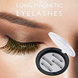 Beauty : Longer False MAGNETIC Eyelashes by Essy -Cover the entire eyelids ,Cruelty Free, Dual Magnets, No Glue, Magic 3D Fake Lashes Extension - Ultra Soft & Natural Look & Handmade 4 PCS (Brown)