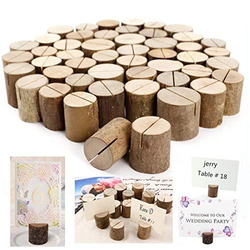 Daxstar - Soporte rústico con base de madera auténtica para decorar mesas de boda con el número de mesa, tarjeta con el nombre, foto, etc que se sujetan con ...