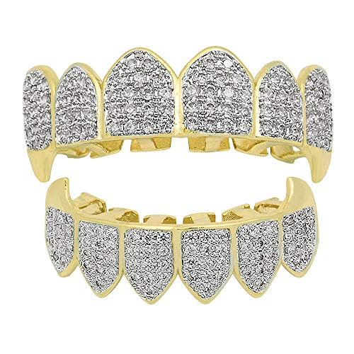 YKPG Plated White Gold Iced Out Grillz for Mouth Top Bottom Hip Hop Teeth Grills for Teeth Mouth (Color : Two-Tone) ()
