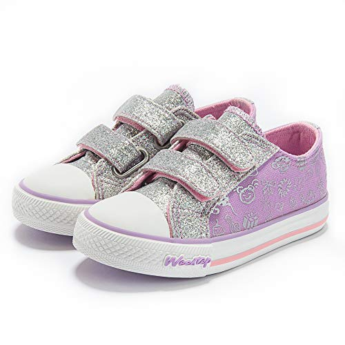Weestep Toddler/Little Kid Glitter Double Strap Pink Sneaker (8 M US Toddler, Purple)