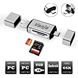 Vanja SD/Micro SD Card Reader, USB Type C Micro USB OTG Adapter and USB 2.0 Portable Memory Card Reader for SDXC, SDHC, SD, MMC, RS-MMC, Micro SDXC, Micro SD, Micro SDHC Card and UHS-I Cards