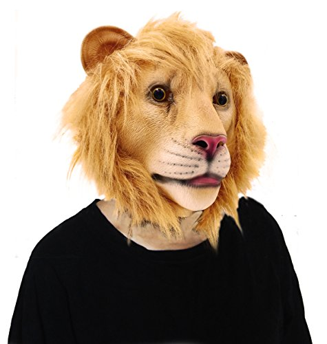 [LUBBER Lion Halloween Costume Latex Animal Head Mask For Party] (Halloween Costumes For The Family)