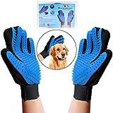 OWUDE Pet Grooming Glove - Gentle Hair Remover Mitt - Breathable Deshedding Massage Tool Bathing Brush - Enhanced Five Finger Design - Perfect Dog & Cat Long & Short Fur - 1 Pair (BLUE)