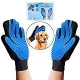 #3: OWUDE Pet Grooming Glove - Gentle Hair Remover Mitt - Breathable Deshedding Massage Tool Bathing Brush - Enhanced Five Finger Design - Perfect Dog & Cat Long & Short Fur - 1 Pair (BLUE)