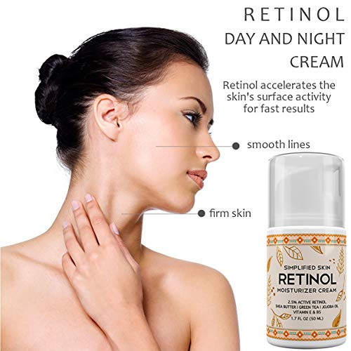 515k4mSQ9hL - Retinol Moisturizer Cream 2.5% for Face & Eye Area with Vitamin E & Hyaluronic Acid for Anti Aging, Wrinkles & Acne - Best Night & Day Facial Cream by Simplified Skin 1.7 oz