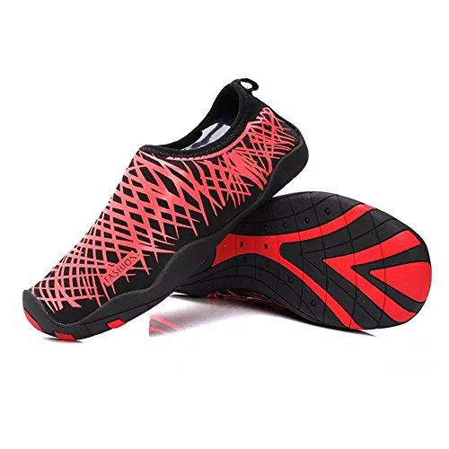 Schnell trocknende Aqua-Wasser-Schuhe Santiro Frauen-Männer für Strand-Pool-Brandungs-Yoga-Übung Rot 1