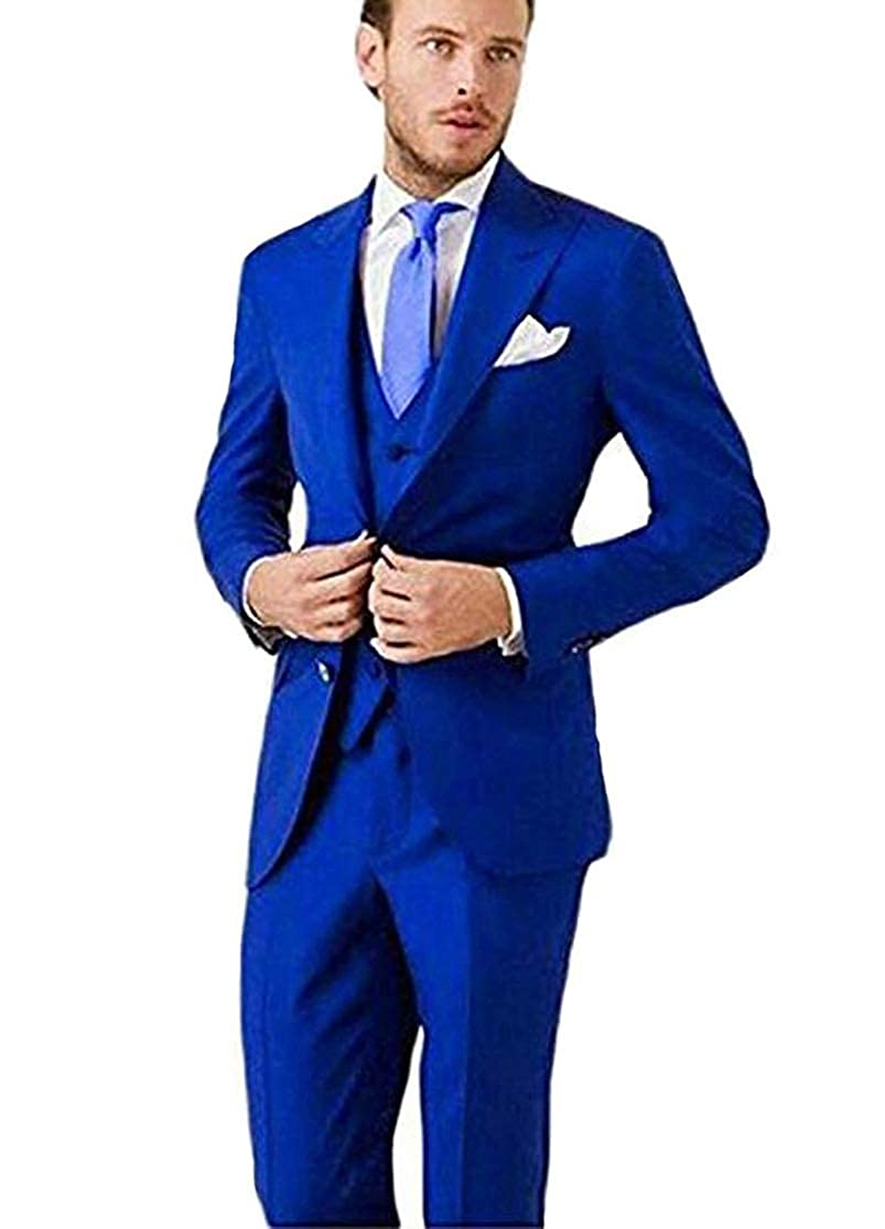b1c1136ec8 AK Beauty Men s 3 Piece Two Buttons Royal Blue Suit (Jacket+Pants+Vest) Wedding  Suits for Men at Amazon Men s Clothing store
