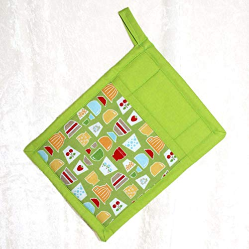 1 Pocket Pot Holder With Hanging Loop - Retro Bowls, Cherries, Strawberries and Tulips Print on Lime Green