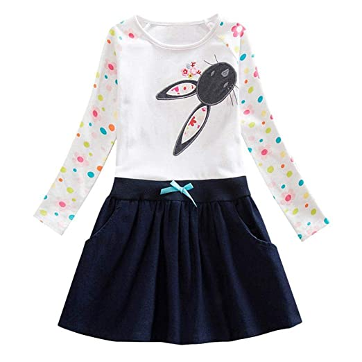 9862defc71f36 Moonker Girls Princess Dress 2-6 Years Old,Toddler Baby Girl Kids Fall  Winter Clothes Long Sleeve Cartoon Bowknot Dress