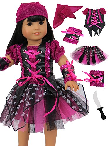 Living Doll Costume Ideas - Punk Rock Pirate Girl Halloween Costume for 18 Inch Dolls | Fits 18