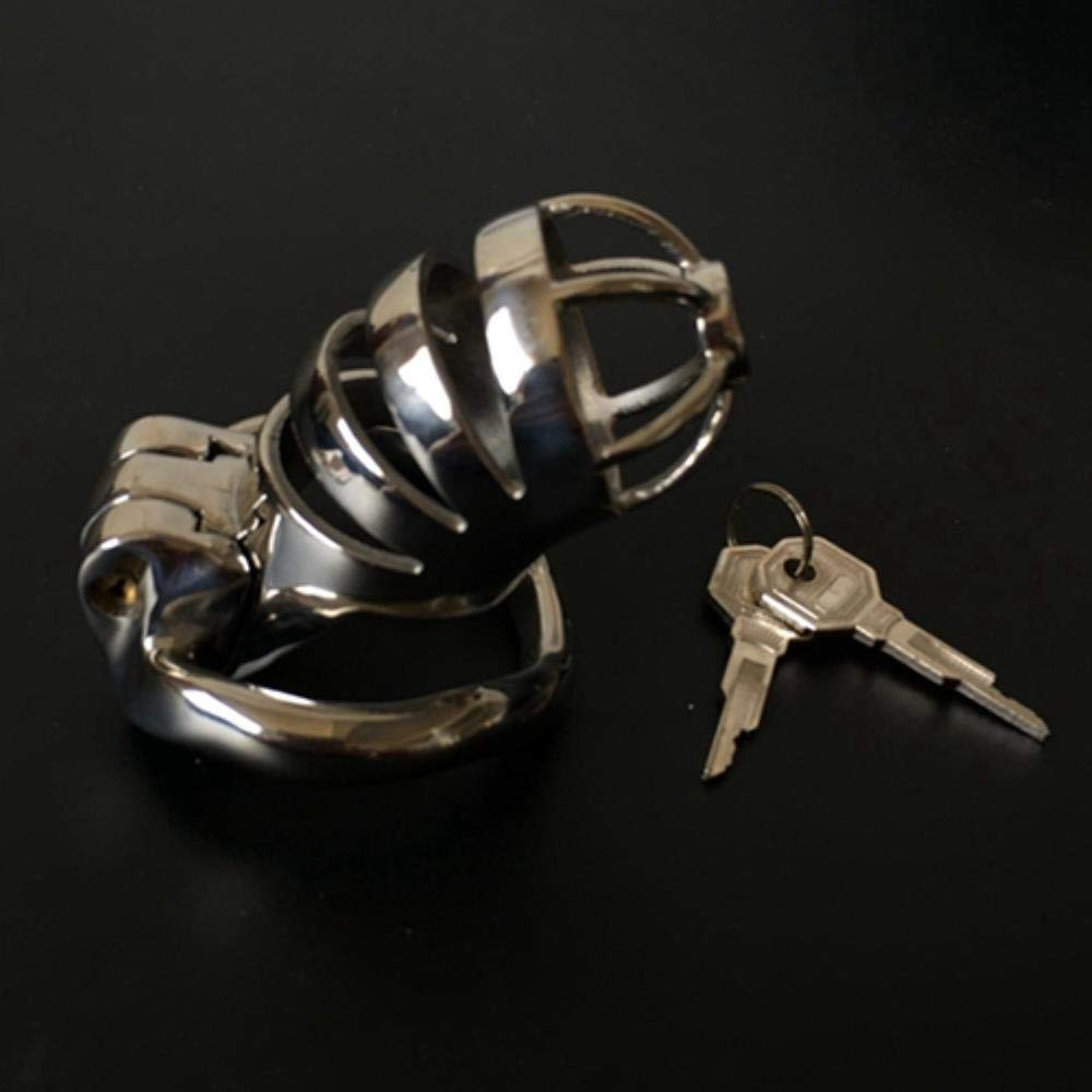 Larenca New Stainless Steel Male Chastity Device Adult Cock Cage Bondage Chastity Cage Sex Toys for Men Chastity Belt Cock Ring,42mm Ring 1SET