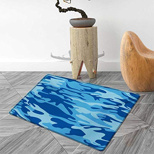 Camouflage Bath Mats for Floors Abstract Camouflage Costume Concealment from The Enemy Hiding Pattern Door Mat Indoors Bathroom Mats Non Slip 4'x5' Pale Blue Navy Blue