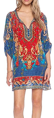 Printed Tie Dress (FACE N FACE Women Bohemian Neck Tie Vintage Printed Ethnic Style Summer Shift Dress Multicolor3)
