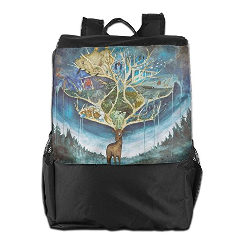 Travel Camping Oil Painting Outdoors Dayback for Strap Shoulder Women HSVCUY Personalized Storage Adjustable School and Men Deer Backpack xqSIHtA