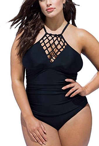 - FlatterMe Women's Black Cut Out Cross Straps Bikini Plunge Neck Tummy Control One Piece Swimsuit(Black,A18010,L