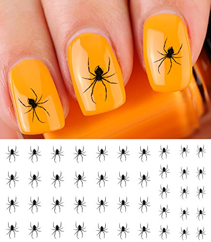 Scary Spider Halloween Water Slide Nail Art Decals - Salon Quality! - Great for Halloween! ()