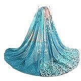 Axixi Womens Fashion Fancy Soft Leaf Scarf Pashmina in Beautiful Printing Pattern (blue)