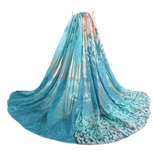 Axixi Womens Fashion Fancy Soft Leaf Scarf Pashmina in Beautiful Printing Pattern - Lambswool Fashion Scarf