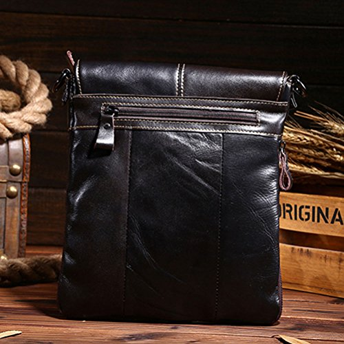 Zhhlinyuan Accesorio para hombre Mens Crossbody Black Adjustable First Layer Of Cowhide Leather Shoulder Bag Sling Bag Backpack
