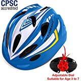 Kids Bike Helmet For Bicycle Cycling, Skateboard, Scooter – Adjustable Harness From Age 3 To 7 For Head Size 19.6-22 inch - Durable Toddler Kid Bicycle Helmets Boys and Girls Will Love (White Blue)