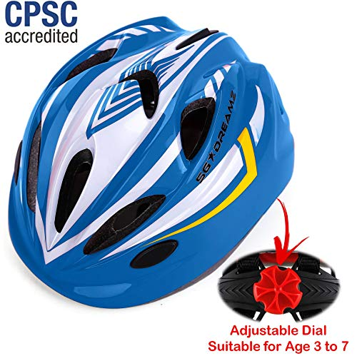 Kids Bike Helmet for Bicycle Cycling, Skateboard, Scooter - Adjustable Harness from Age 3 to 7 for Head Size 19.6-22 inch - Durable Toddler Kid Bicycle Helmets Boys and Girls Will Love (White Blue) -