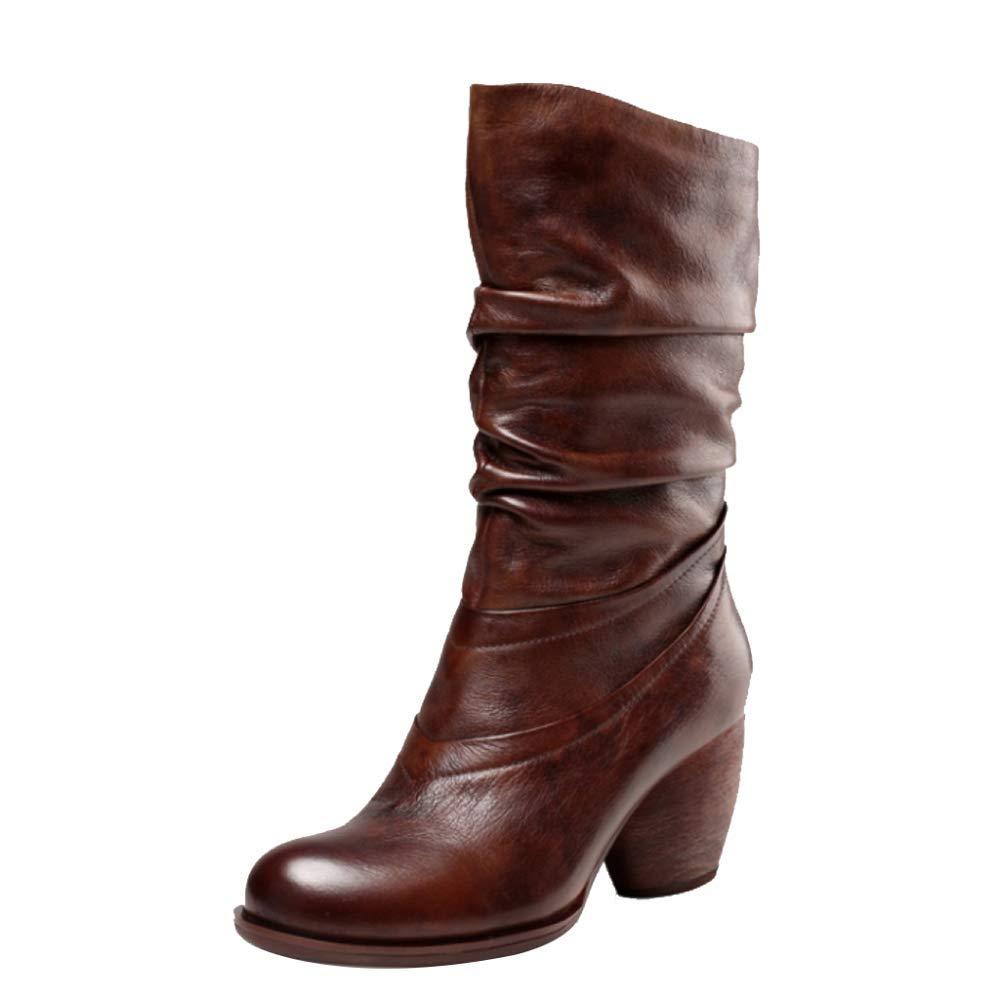 Lange Stiefel Damen Herbst Und Winter Leder Retro High Heel Damen Komfortable Anti-Slip Martin Stiefel