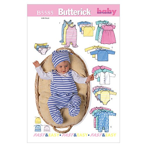 Baby Pullover Pattern - Butterick Patterns B5585 Infants' Jacket, Dress, Top, Romper, Diaper Cover and Hat, Size MED (M-L-XL)