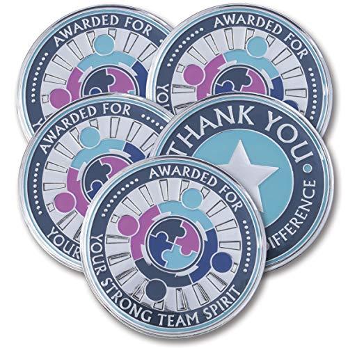 AttaCoin - 5 Coins - Employee Appreciation Gifts - Motivation Award (5 Pack, Teamwork) -