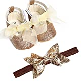 AMhomely Girl Infants Ribbon Bowknot Sequins Party Wedding Shoes with Headband 12-18 Months, Gold