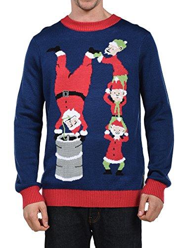 Tipsy Elves Mens Santas Little Helpers Elf Christmas Sweater - Ugly Christmas Sweater Blue