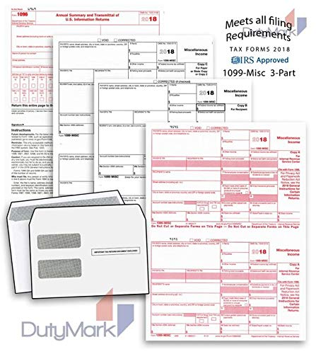 1099 Misc Tax Form 3 Part 2018 and 1096 - Kit for 50 Vendors, All 1099 Forms with Self-Seal Envelopes in Value Pack | 1099 Misc 2018