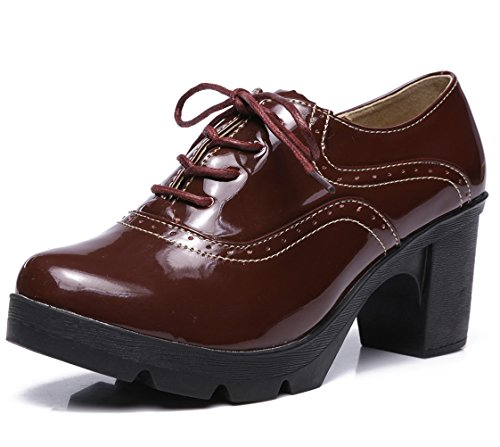 DADAWEN Women's Classic T-Strap Platform Mid-Heel Square Toe Oxfords Dress Shoes Wine Red US Size 7.5