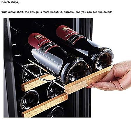 CLING Refrigerador para vinos, 18 Botellas, Empotrado o Independiente con Acero Inoxidable y Puerta de Vidrio Templado de Doble Capa Ahorro de energía, Funcionamiento silencioso