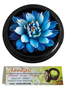Jittasil Thai Hand-Carved Soap Flower, 4 Inch Scented Soap Carving Gift-Set, Blue Lotus In Decorative Wood Case