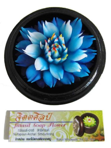 jittasil-thai-hand-carved-soap-flower-4-scented-soap-carving-gift-set-blue-lotus-in-decorative-wood-