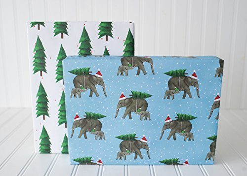 Christmas Elephants - Reversible Holiday Wrapping Paper - Eco Gift Wrap Allport Editions x Wrappily